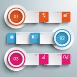 三个白色横幅批量化的长方形Infographic 库存照片