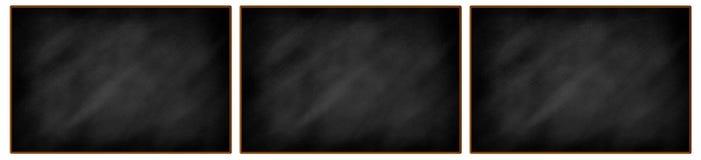三个空白的黑板连续 免版税库存照片