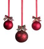三个红色圣诞节球 免版税库存图片