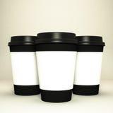三个纸咖啡杯 图库摄影