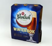 三个组装3组装Grolsch Winterbok棺架 免版税库存图片