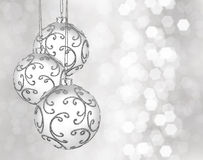 三个美丽的圣诞节球 库存图片