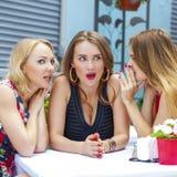 三个美丽的坐在桌上我的女朋友说闲话的妇女 图库摄影