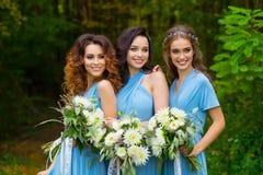 三个美丽的女傧相 免版税库存图片