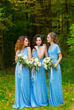 三个美丽的女傧相 库存照片