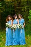 三个美丽的女傧相 免版税库存照片