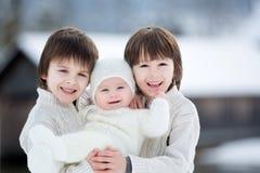 三个美丽的男孩,兄弟,有在冬天sunn的画象 库存图片