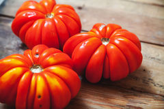 三个美丽的红色有肋骨蕃茄特写镜头 库存图片