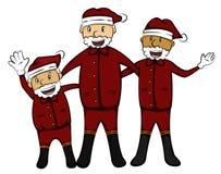 三个老人在圣诞老人服装动画片 图库摄影