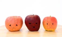 三个苹果,三类型。 免版税库存图片