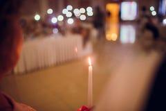 三个蜡烛照片在餐馆 图库摄影