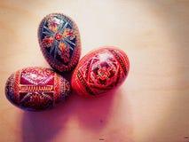 三个装饰鸡蛋 库存图片