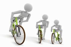 三个角度的骑自行车者 向量例证