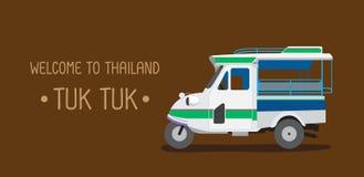 三个轮子汽车或tuk tuk 曼谷泰国-例证 图库摄影