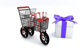 三个轮子购物的礼物盒概念, 3d 皇族释放例证