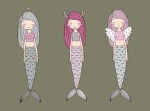 三个逗人喜爱的动画片美人鱼 警报器 抽象抽象背景海运主题 向量例证