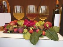 三个酒杯瓶蒲桃和胡说的构成 免版税库存图片