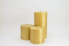三个金蜡烛 库存图片