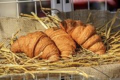 三个金黄新月形面包 免版税库存照片