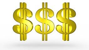 三个金黄美元的符号 库存例证