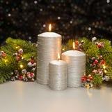 三个银色蜡烛 库存图片