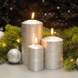 三个银色蜡烛 库存照片