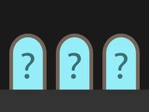 三个门,问号 免版税库存照片