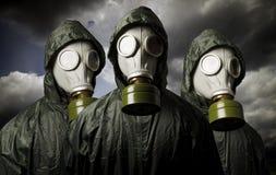三个防毒面具 生存题材 免版税库存照片