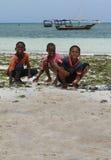 三个非洲男孩在海浪区域收获了海洋动物 库存照片