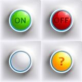 三个颜色按钮: 红色,绿色,黄色 免版税库存图片