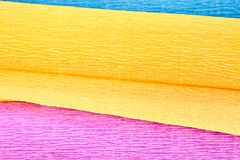 三个颜色波状纸板,特写镜头 免版税图库摄影