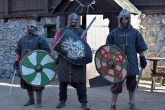 三个骑士北欧海盗 免版税图库摄影