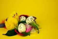 三个鸡蛋和两只鸡,复活节装饰 图库摄影