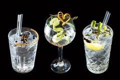 三个黄瓜葡萄柚杜松子酒补剂鸡尾酒饮料 库存照片