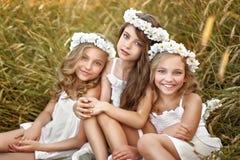 三个年轻女朋友画象  免版税库存图片