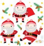 三个滑稽的圣诞老人字符 皇族释放例证