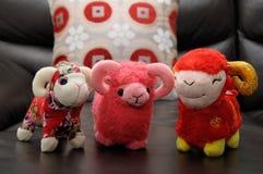 三个绵羊材料玩具 库存图片