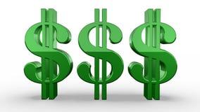 三个绿色美元的符号转动 库存例证