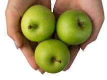 三个绿色苹果 库存图片