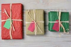 三个组织被包裹的礼物 图库摄影