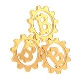 三个bitcoin钝齿轮齿轮构成 库存图片