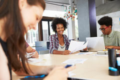 三买卖人开创造性的会议在办公室 免版税图库摄影