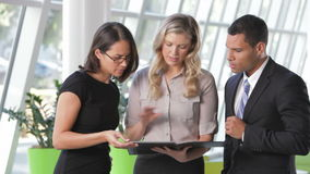 三买卖人谈论文件在办公室 股票录像