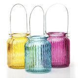 三五颜六色的蜡烛讽刺文 库存图片