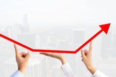三企业people's建议的配合概念递引导箭头图表图向上去 免版税库存照片