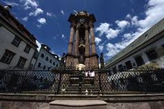 三位一体专栏-特洛伊柱子, Banska Stiavnica,斯洛伐克 库存照片