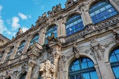 三位一体或Hofkirche的德累斯顿大教堂门面的元素在德累斯顿,萨克森,德国 免版税库存照片