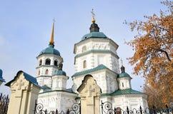 三位一体教会在市伊尔库次克在冬天,俄罗斯 免版税库存照片