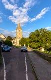 三位一体教会西部门面街道视图 图库摄影