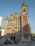 三位一体的教会,历史中心zocalo 图库摄影